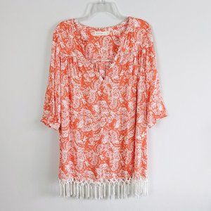 Sofia by VIX Abstract Print Fringe Beach Coverup